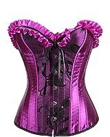 b2522cbc0e9 Zhitunemi Womens Floral Black Lace Trim Corset Overbust Waist Cincher  Bustier