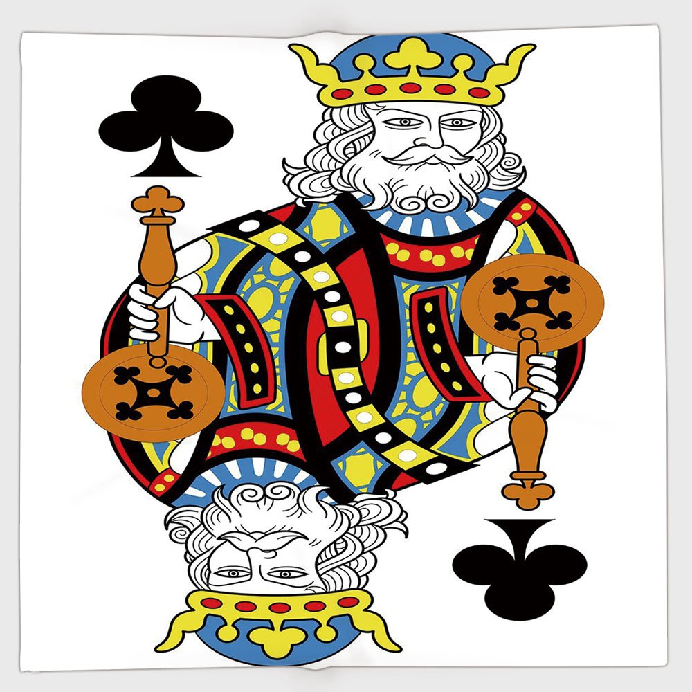 Cotton Microfiber Hand Towel,King,King of Clubs Playing Gambling Poker Card Game Leisure Theme without Frame Artwork,Multicolor,for Kids, Teens, and Adults,One Side Printing