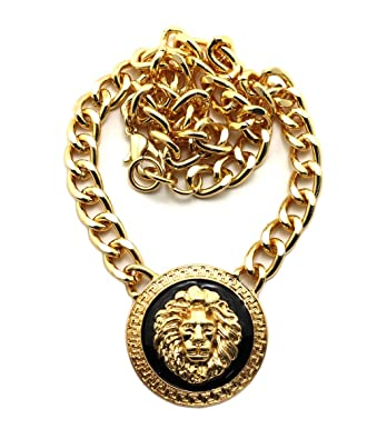 Amazon new rihanna gold lion head pendant w10mm 16 link chain new rihanna gold lion head pendant w10mm 16quot link chain necklace noq160g aloadofball Choice Image