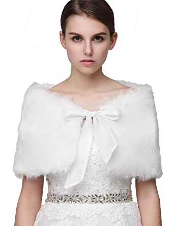 Clearbridal Womens White Faux Fur Wrap Cape Stole Shawl Bolero Jacket Coat Shrug Bridal For Wedding Dress Winter with Bows: Amazon.co.uk: Clothing