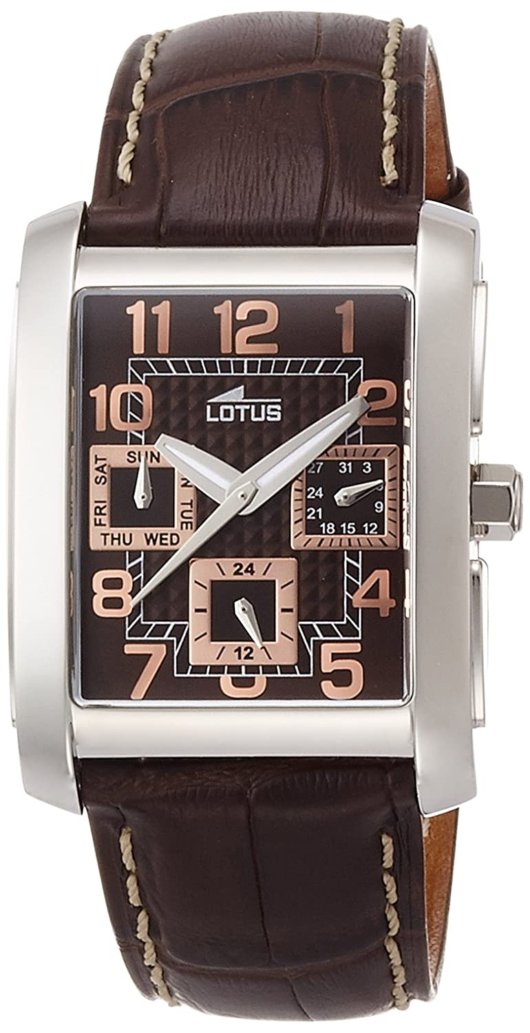 Amazon.com: Lotus Mens Quartz Watch with Brown Dial Analogue Display and Brown Leather Strap 15387/R: Watches