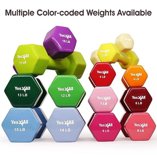 Yes4All Deluxe - Par de mancuernas con revestimiento de vinilo (se vende en) - Multi peso tamaño y color disponible - 3LN4, Rojo: Amazon.es: Deportes y aire ...