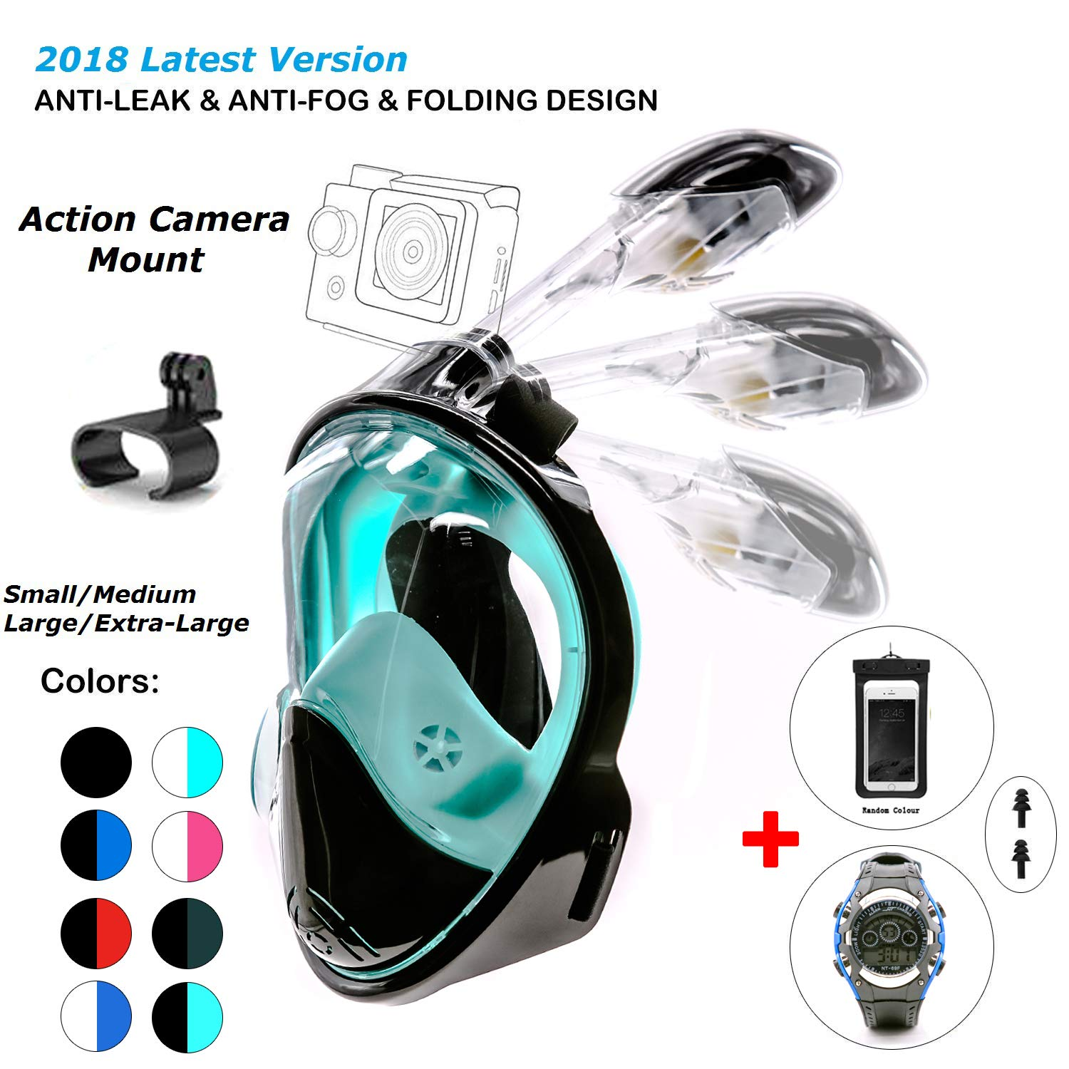 180° Snorkel Mask View for Adults and Youth. Full Face Free Breathing Folding Design.[Free Bonuses] Cell Phone Universal Waterproof Case and 30m Waterproof Watch (Black&Green, Small/Medium)