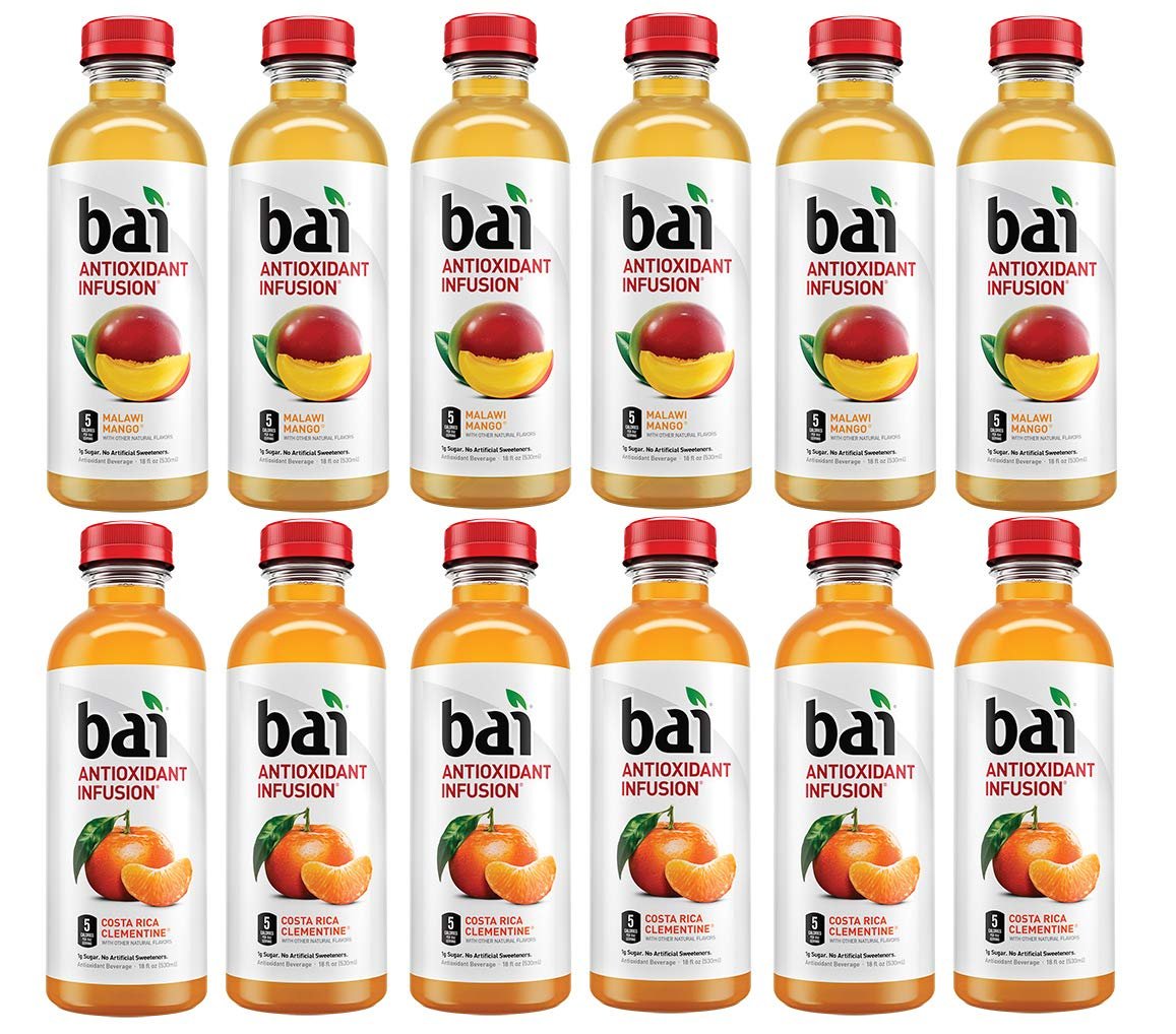 LUV-BOX Variety BAI ANTIOXIDANT Water pack , pack of 12 , 18 fl oz , INFUSION MALAWI MANGO ,INFUSION COSTA RICA CLEMENTINE