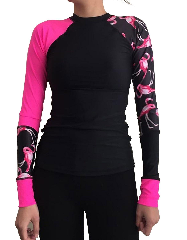 Crazycatz@ Womens Long Sleeve UV Protection Rash Guard Top Shirt Flamingo Print