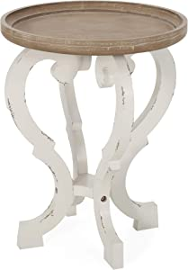 Christopher Knight Home Donna French Country Accent Table with Round Top, Natural + Distressed White
