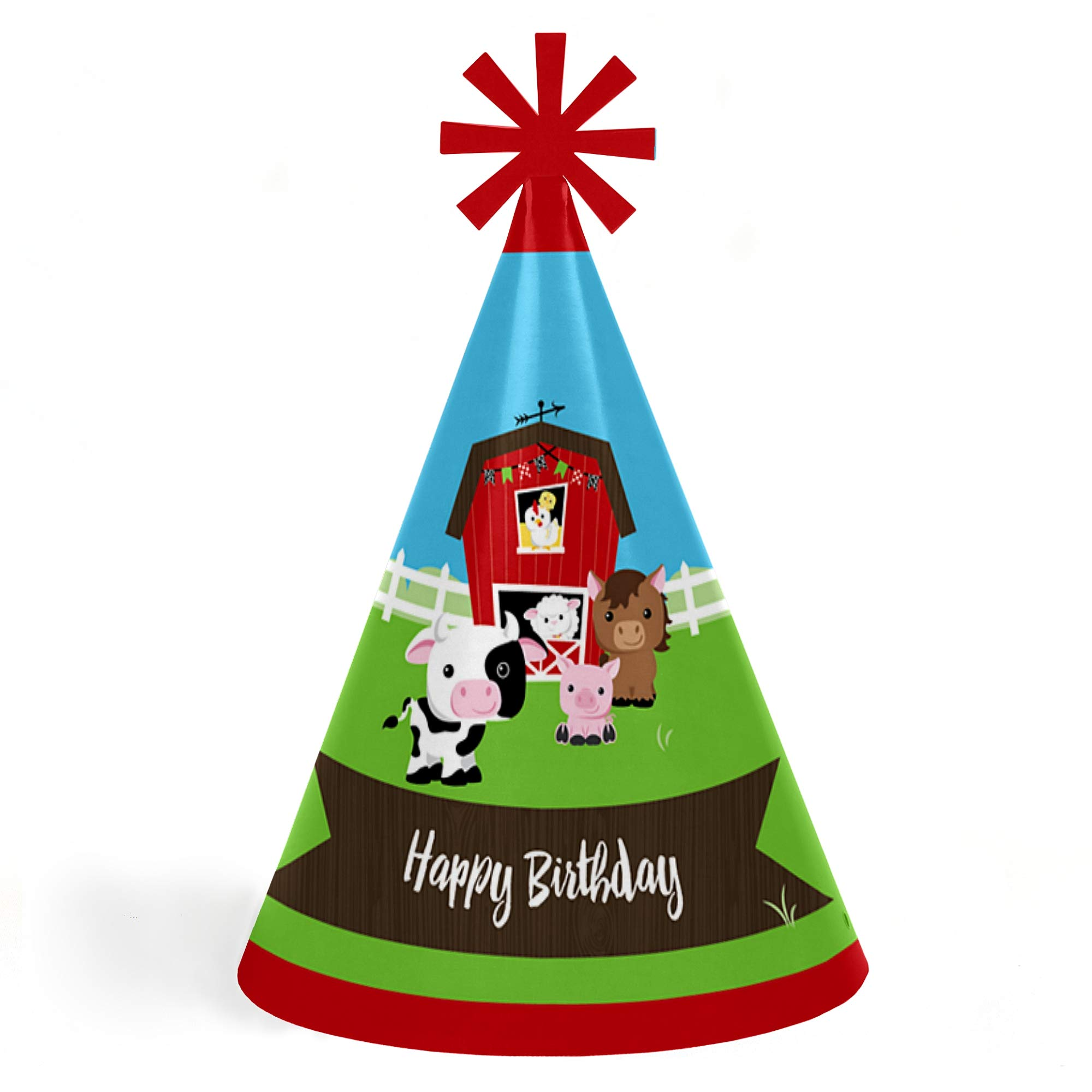Farm Animals - Cone Happy Birthday Party Hats for Kids and Adults - Set of 8 (Standard Size)