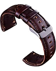 VIQIV Bands for Samsung Gear S3 Frontier Classic/Fossil Q Smart Watch, Quick Release Leather Wrist Band Watch Accessories Strap 18mm 20mm 22mm for Men Women