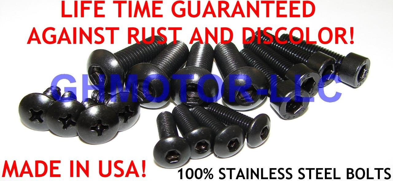GHMotor BOLTS and WASHERS Fairing Bolts Fasteners Screws Kit Set MADE IN USA for 2011 12 2013 HONDA CBR250R All Black