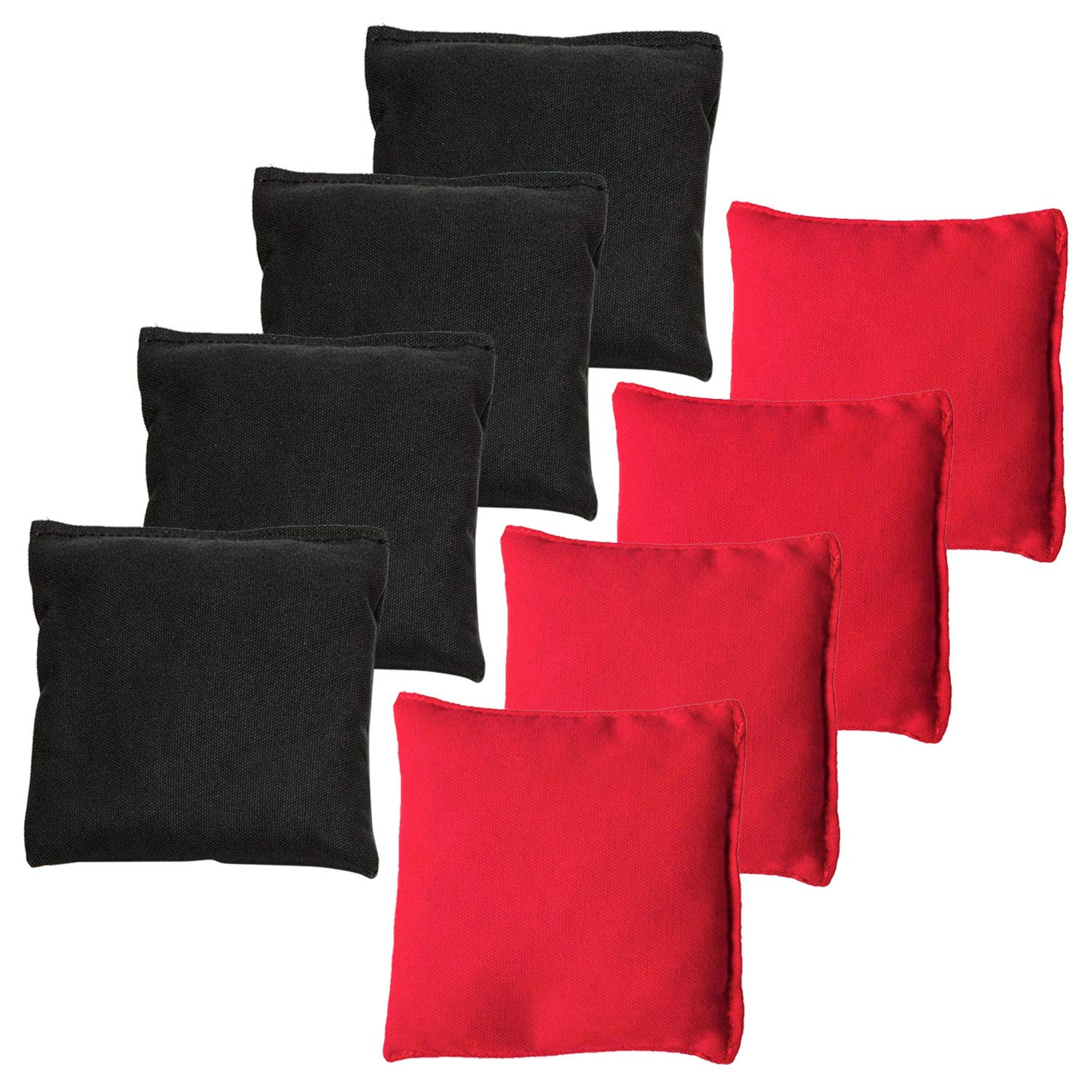 JMEXSUSS Weather Resistant Standard Corn Hole Bags, Set of 8 Regulation Cornhole Bags for Tossing Game (Black/Red) by JMEXSUSS
