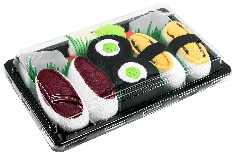 Sushi Socks Box - 3 pares de CALCETINES: Maki de Pepino, Tamago, Atún - REGALO DIVERTIDO, Algodón de alta Calidad Tamaños 41-46, Certificado de OEKO-TEX, ...