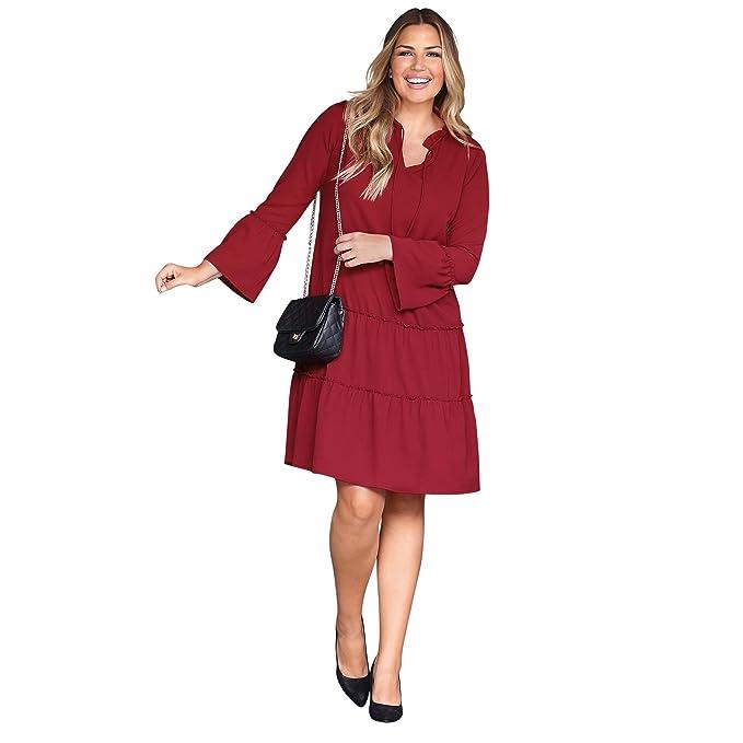 VENCA Vestido Escote Redondeado con Abertura y Lazo by Vencastyle,Rojo Mora,L