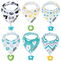 Baby Bandana Drool Bibs 6-Pack and Teething Toys 6-Pack Made with 100% Organic Cotton...