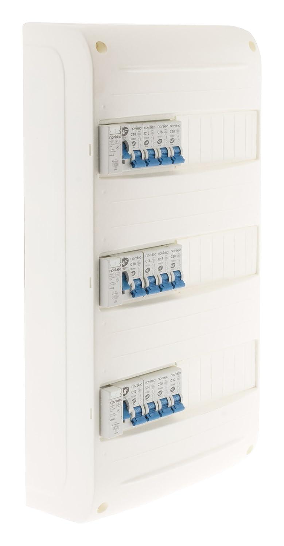 Coffret de distribution éléctrique 39 modules 3 rangées prééquipé Blanc Novélec