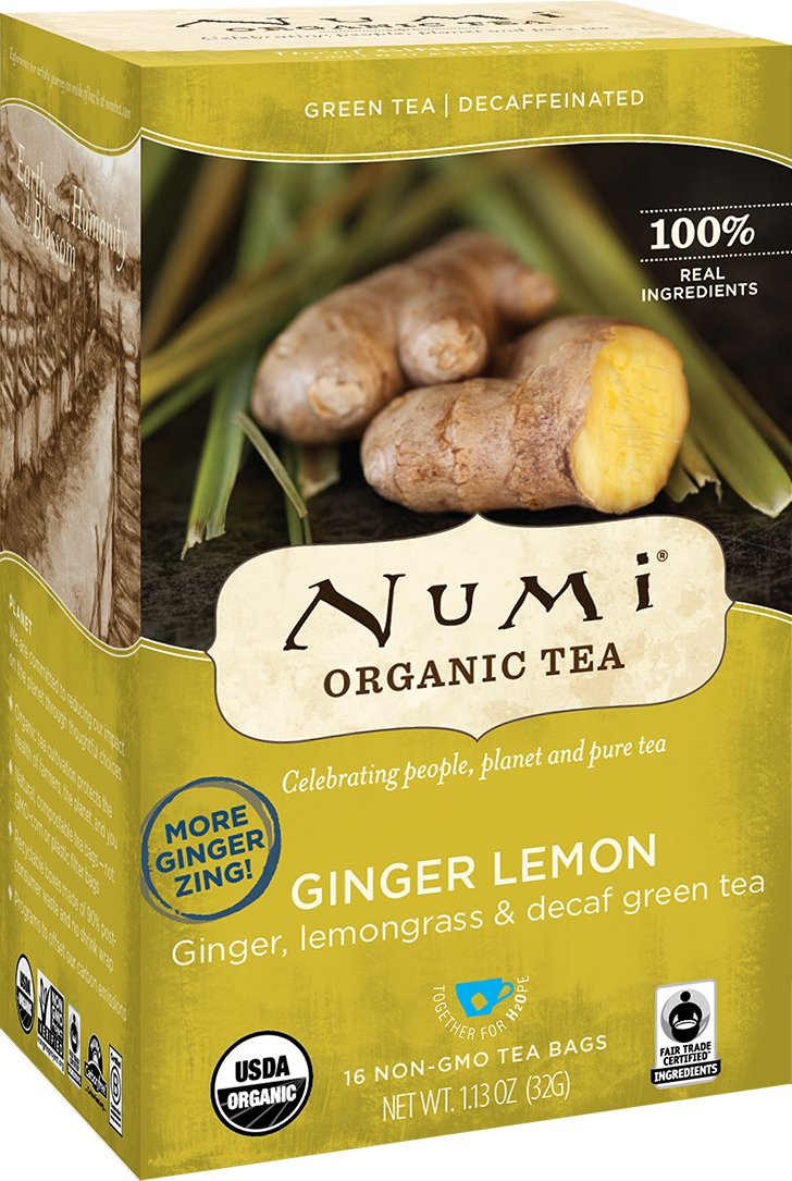 Numi Organic Tea, Decaf Ginger Lemon, 16 Bags, Decaffeinated Green Tea Blended with Ginger and Lemon in Non-GMO Biodegradable Tea Bags-Caffeine Free Natural Tea Blend (Packaging May Vary)