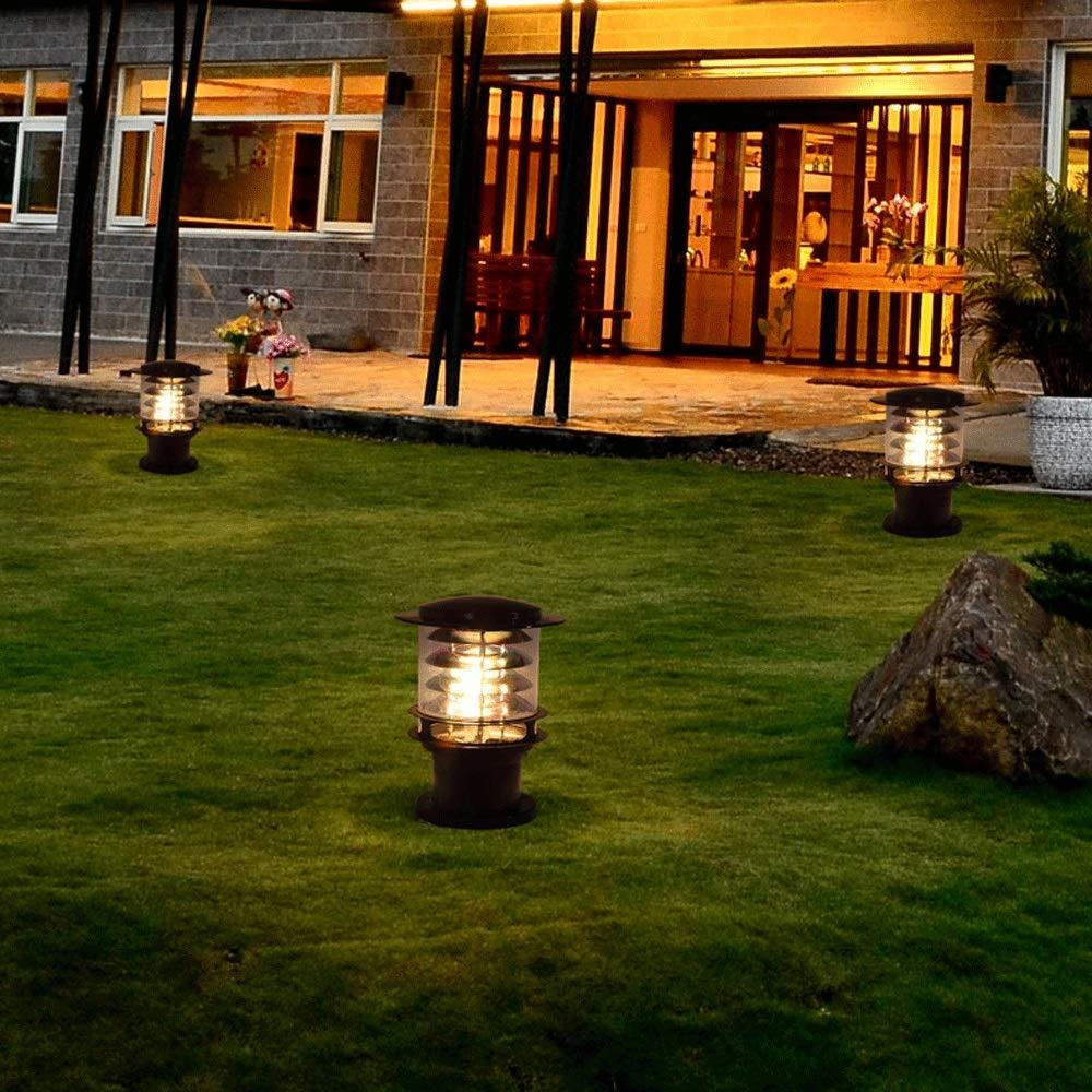 Lanterna esterno Cortile impermeabile Esterno Paesaggio Lampada pilastro Alta luminosit/à Alluminio E27 Colonna luminosa Villa europea Giardino Ingresso piscina Palo Lanterna Piscina Percorso Lampione