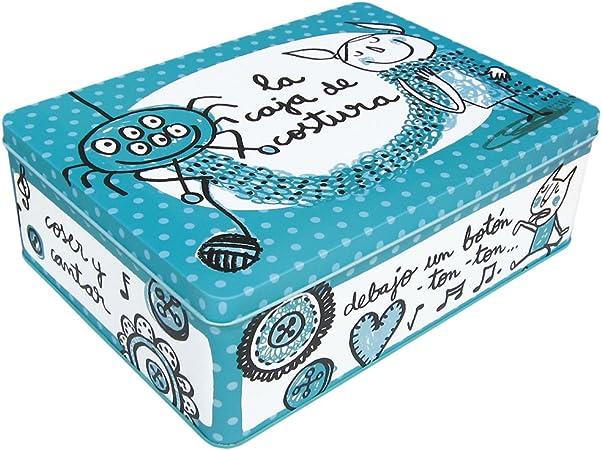 Laroom Caja metálica, Metal, Azul: Amazon.es: Hogar