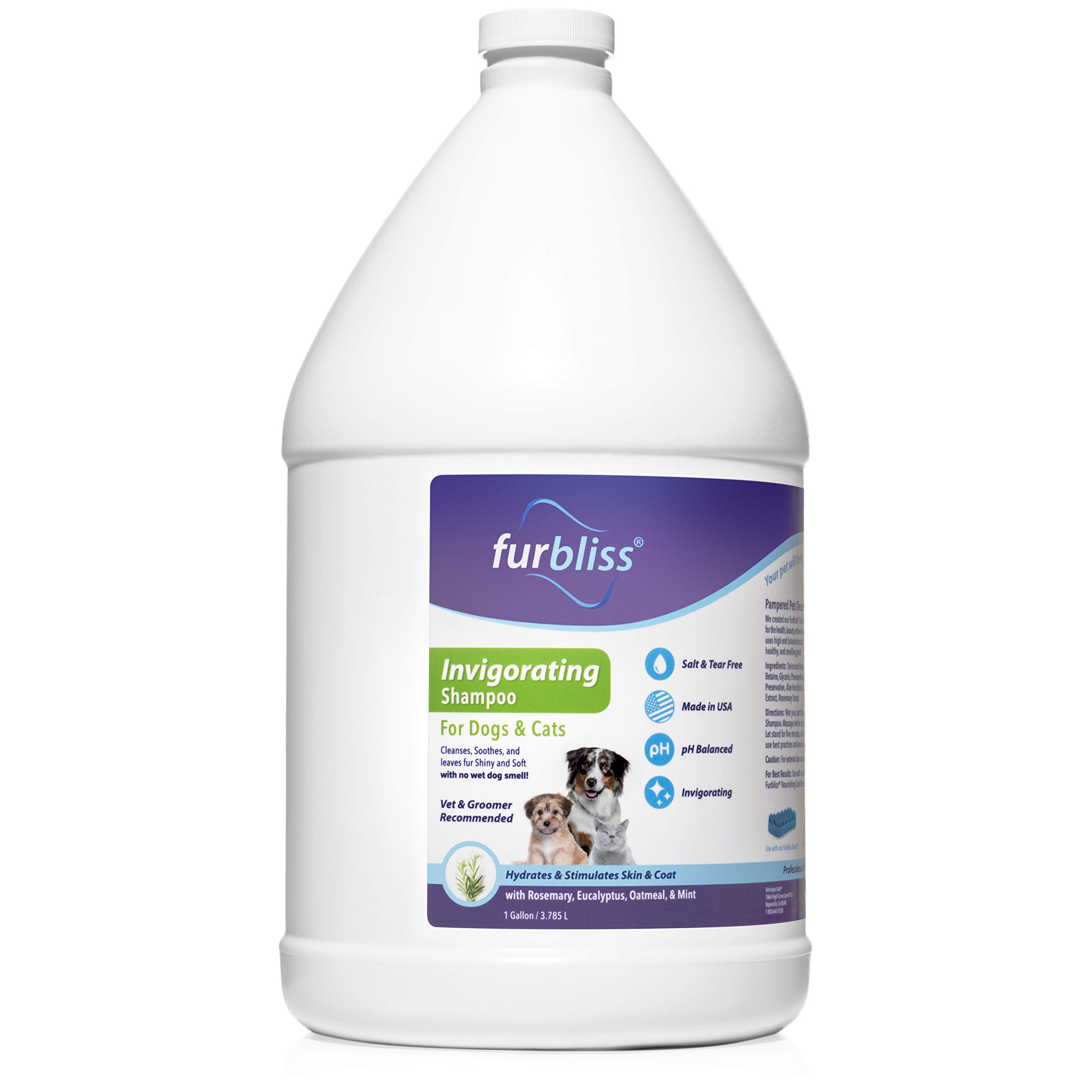 Furbliss Invigorating Grooming Dog & Cat Pet Shampoo - No Wet Dog Smell, Tear Free, Smelly Dog Relief (Gallon)   by Furbliss