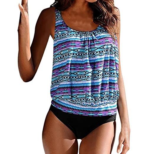 61d1ca2997b01 Amazon.com: Koolee Printed Swimwear Women Plus Size Tankini Bikini Mid  Waist Swimsuit Bathing Suit: Clothing