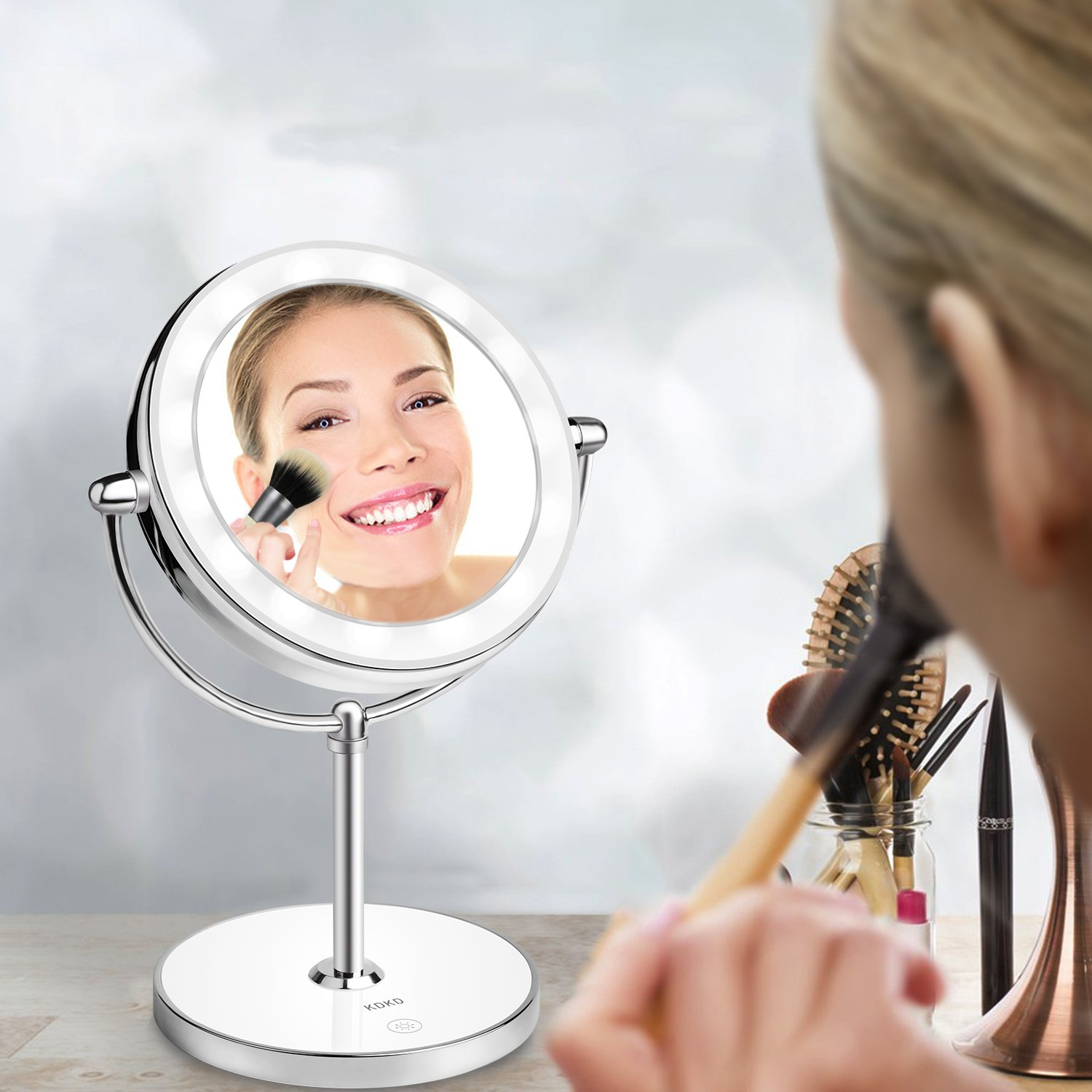 KDKD Lighted Makeup Mirror 1X 7X Magnification Double Sided Round Shape with Base Touch Button, Cordless and Rechargeable by KDKD (Image #5)