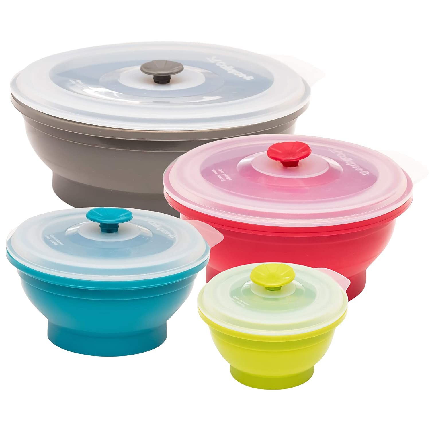 Collapse-it Silicone Food Storage Containers - BPA Free Airtight Silicone Lids, 4 Piece Set of 6-Cup, 4-Cup, 2-Cup, 1-Cup Collapsible Lunch Box Containers - Oven, Microwave, Freezer Safe