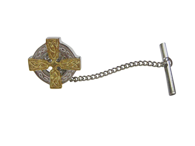Kiola Designs Gold and Silver Toned Celtic Cross Tie Tack