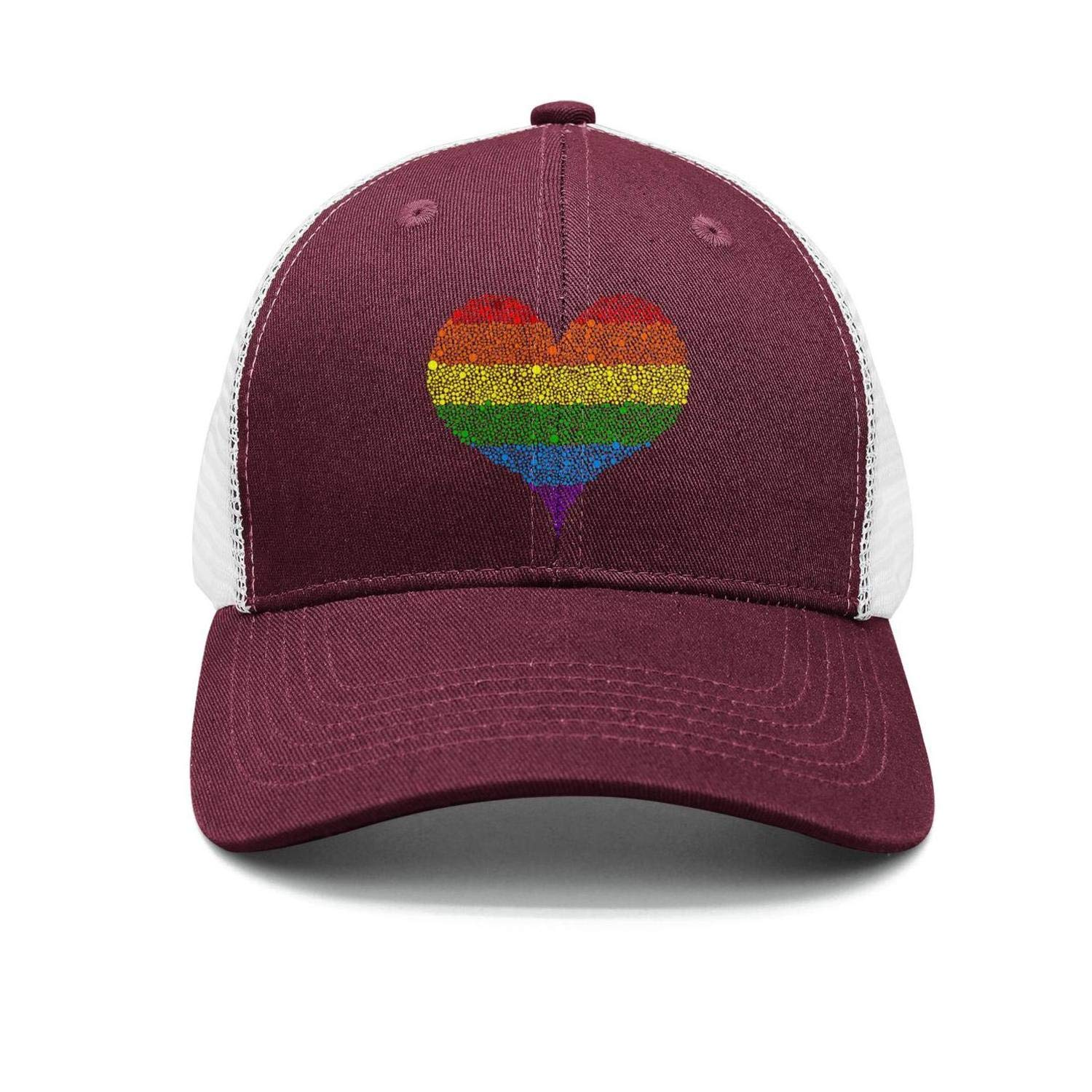 Gay Pride Rainbow Flag Heart Trucker Hat Men//Women Best Sports Hats