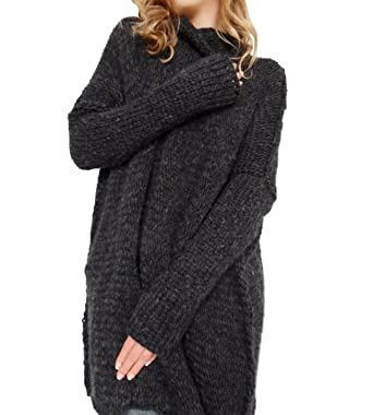 04feea8240bf 365-Shopping Women Baggy Long Sleeve Knitted Pullover Loose Sweater Jumper  Tops Knitwear  Amazon.co.uk  Clothing