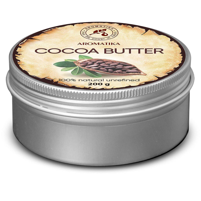 Burro di Cacao 200g - 100% Puro e Naturale - Burkina Faso - Burro di Semi di Cacao Theobroma - Grandi Benefici per la Pelle - Capelli - Viso - Corpo - Cura delle Labbra - Burro di Cacao di Aromatika