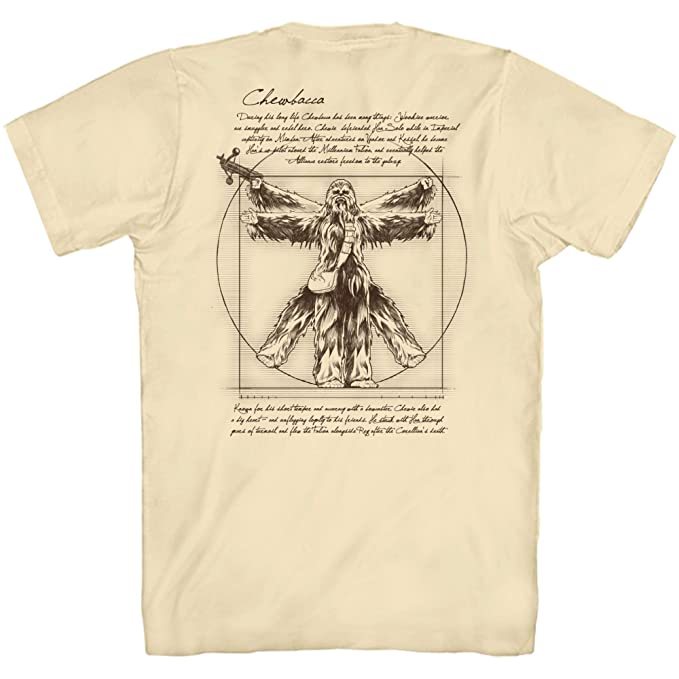 8b54ee486 Amazon.com: Star Wars Vitruvian Man Chewbacca Chewie Front & Back Leonardo  da Vinci Funny Tee Adult Mens Graphic T-Shirt: Clothing