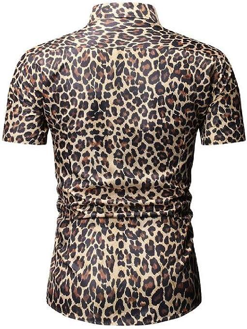 KLJR - Camisa de Trabajo para Hombre, Manga Corta, diseño de Leopardo - - Small: Amazon.es: Ropa y accesorios