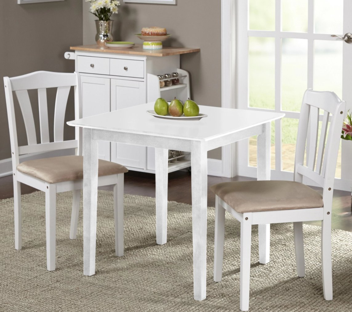 Harewood 3 Piece Dining Set, Constructed of Sturdy Rubber Wood with Microsuede Upholstered Seats (White) by Simple Living Products