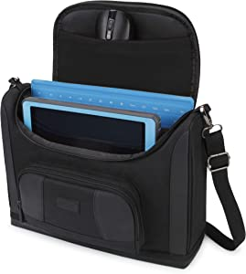 USA GEAR Compact Tablet Messenger Bag Compatible with Lenovo Smart Tab 10.1, Galaxy Tab A 10.1, Galaxy Tab S5e 10.5 - Durable Exterior, Shoulder Strap, Padded Adjustable Interior Dividers (Black)