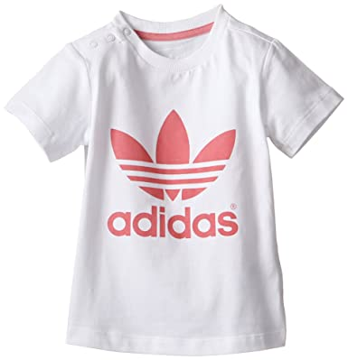 f5489687f7422 ADIDAS ORIGINALS ADICOLOR BÉBÉ TREFOIL TEE ENFANTS LOISIR T-SHIRT BLANC ROSE  - blanc