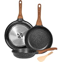 ESLITE LIFE Frying Pan Set Nonstick Induction Skillet Set with Wooden Spatula, 8 Inch, 9.5 Inch and 11 Inch