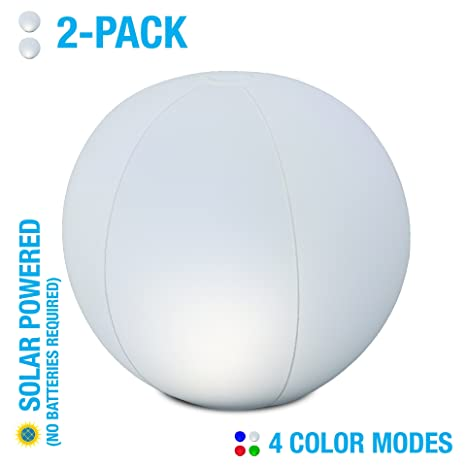 Design 12u0026quot; Color Changing Solar LED Ball | 2 Pack | Inflatable,