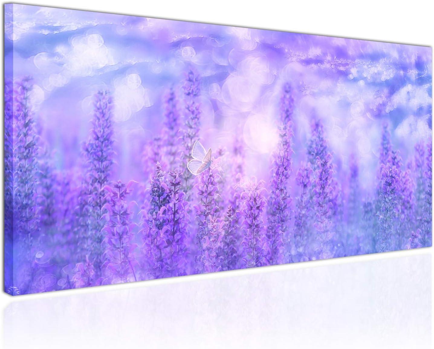 Topquadro Cuadro XXL sobre Lienzo, Imagen Panorámica 100x50cm, Violetas y Flores Lilas, Mariposas, Colores Delicados, Estilo Elegante - Decoración de Pared, Imagen Panorámica - Una Pieza