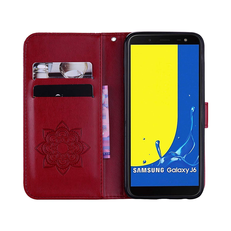 SainCat Custodia Galaxy J6 2018 Portafoglio Glitter Custodia Bling Glitter Strass Pelle Flip Gufo Cover per Samsung Galaxy J6 2018-Oro
