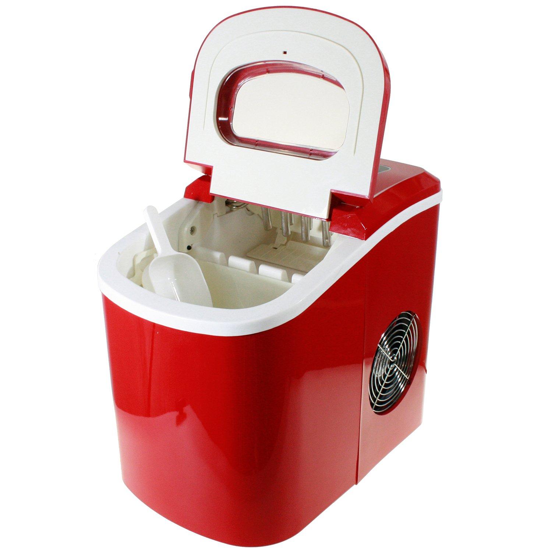 Houseware BN-3513 Machine à glaçons 12kg/jour Avec compresseur et réservoir 1,1kg rouge