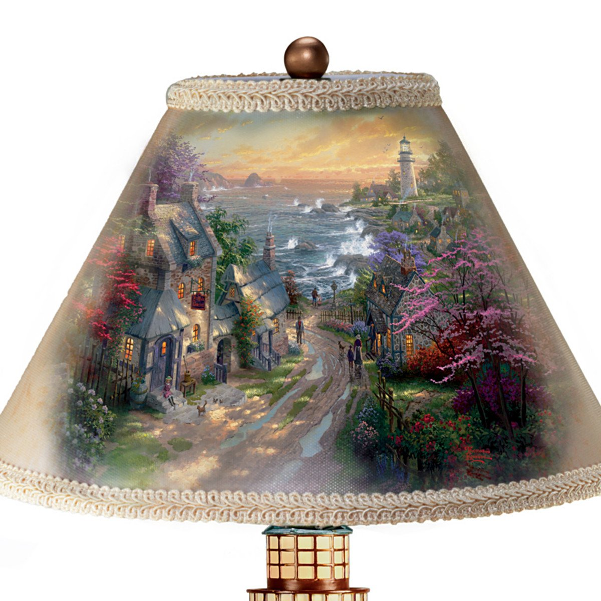 Thomas Kinkade Lamp With The Village Lighthouse Artwork On Shade And Lighthouse Base by The Bradford Exchange by Bradford Exchange (Image #2)