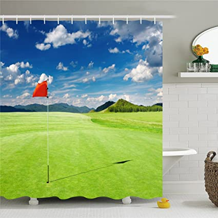 Amazoncom Playing Golf Shower CurtainPolyester Waterproof Shower - Golf bathroom accessories