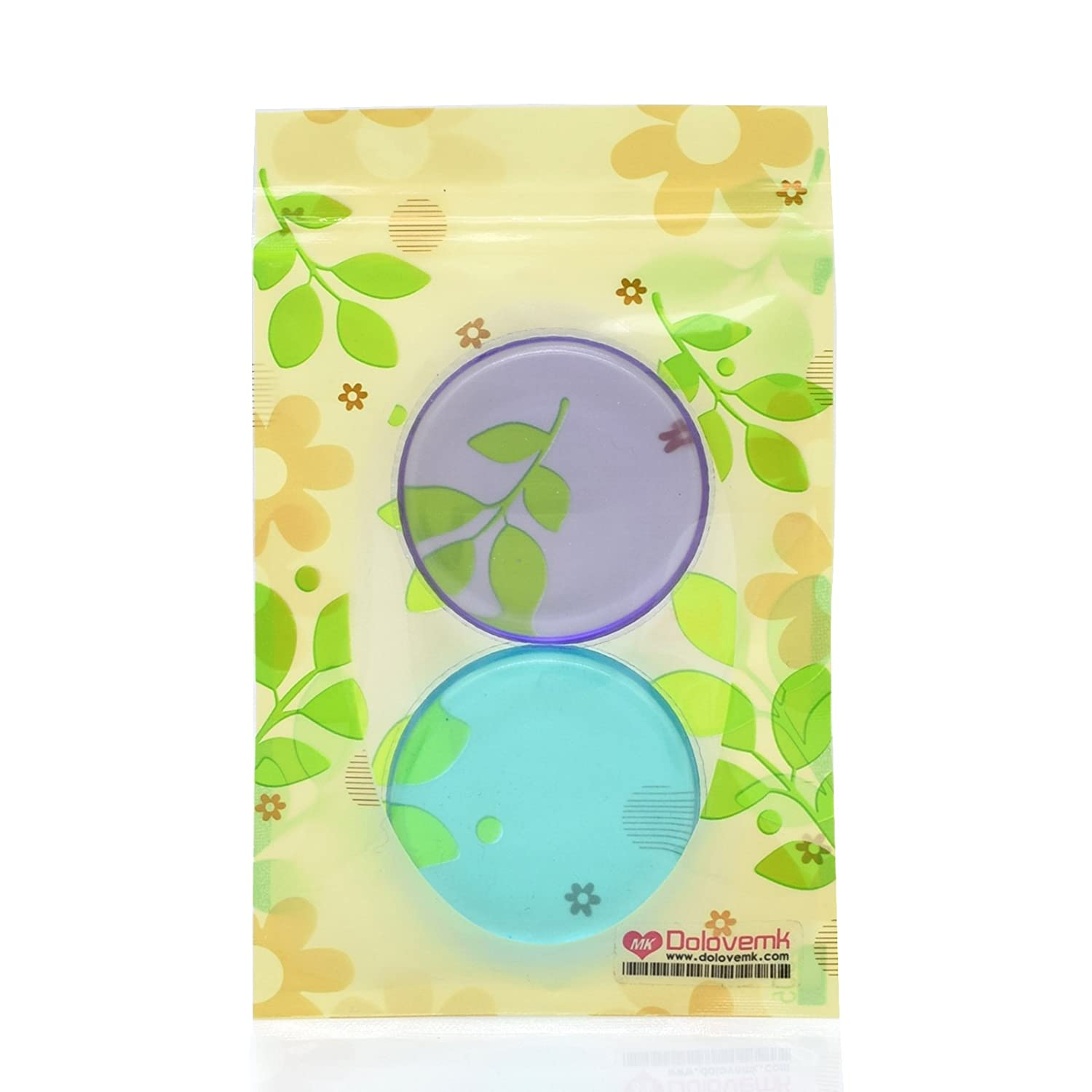 Dolovemk 2PCS Beauty Silicone Makeup Sponge Blending Pad for BB CC Cream Concealer Highlighting Liquid (Purple+Blue)