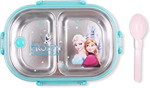Finex Frozen Blue Bento Box Container Set with Clear Lid & Spoon - Princess Elsa Anna Olaf Snowman