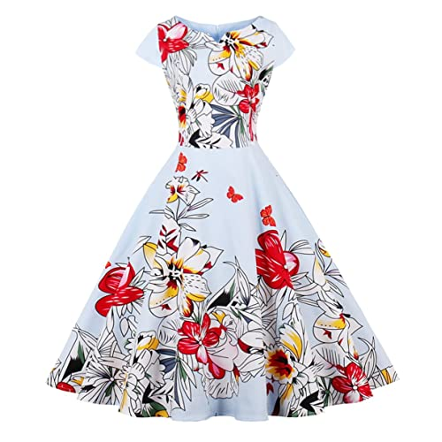 FAIRY COUPLE Vintage Rockabilly Cap Sleeves Prom Dress DRT019