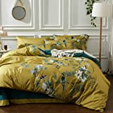 mixinni Garden Style Cotton Flowers and Birds Pattern Printed Gold Duvet Cover Reversible Design Peacock Blue 3 Piece Bedding