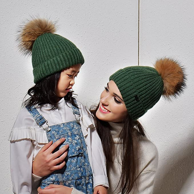 a2a33fc5 FURTALK Kids Bobble Hats Pom Pom Hat - Girls Angora Knitted Beanie Hat Faux  Fur Bobble (Ages 2-10): Amazon.co.uk: Clothing