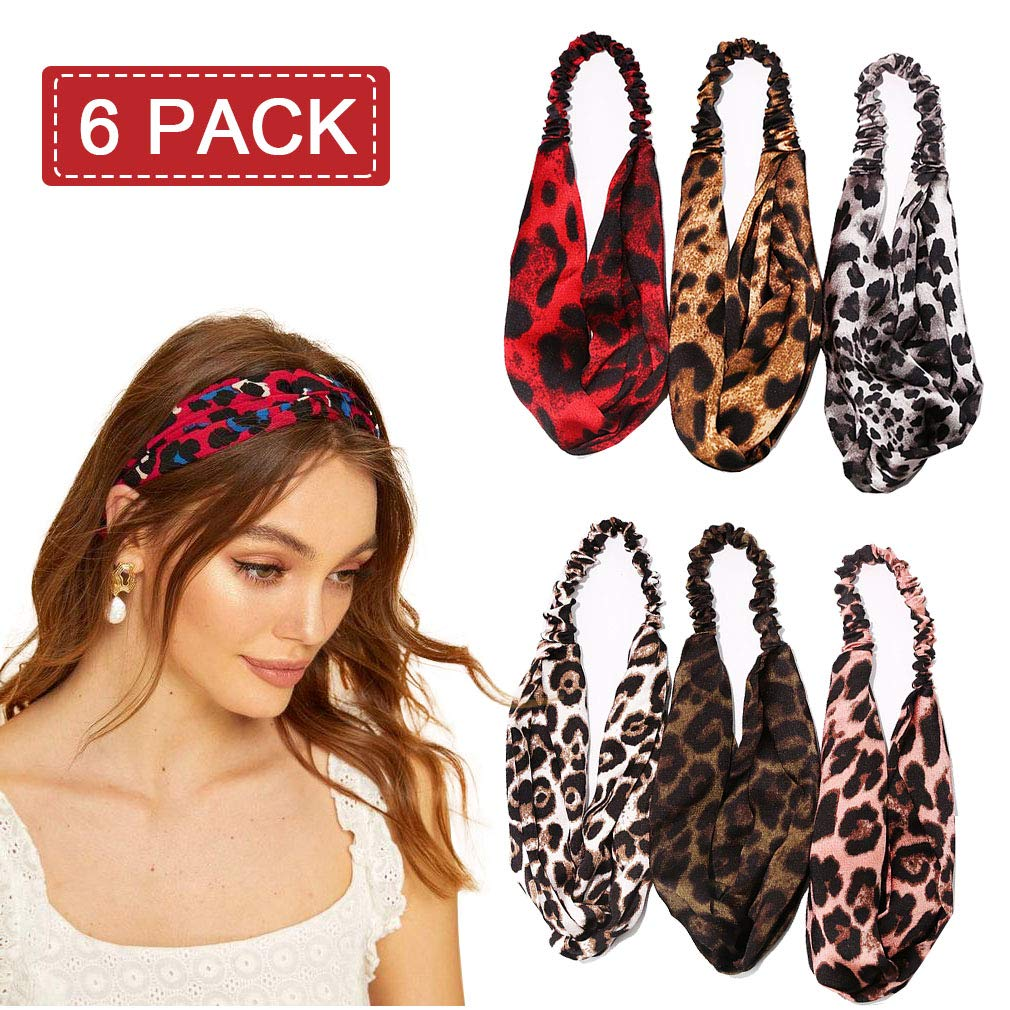Headband Hair Bands Twisted Boho Turban Leopard Sports Running for Women Girls Holiday 4Pcs Vintage Headwrap Animal Print Cute Stretchy Hair Accessories