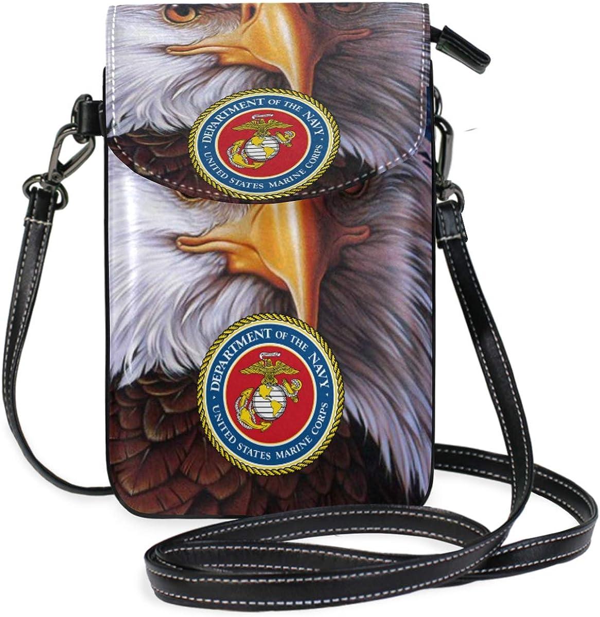 US American Navy USN Mini Crossbody Cellphone Purse PU Leather Shoulder Bags Wallet Pouch Handbag