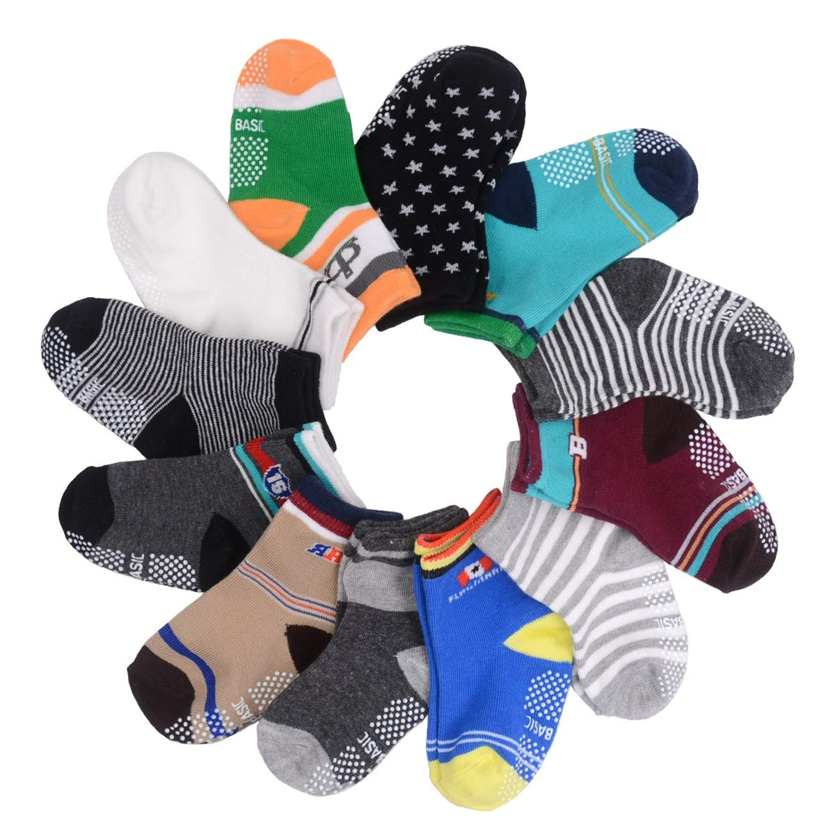 12 Pairs Baby Socks with Grips Non Skid Anti Slip Ankle Socks for Walker Toddler Kids 12-24 Months