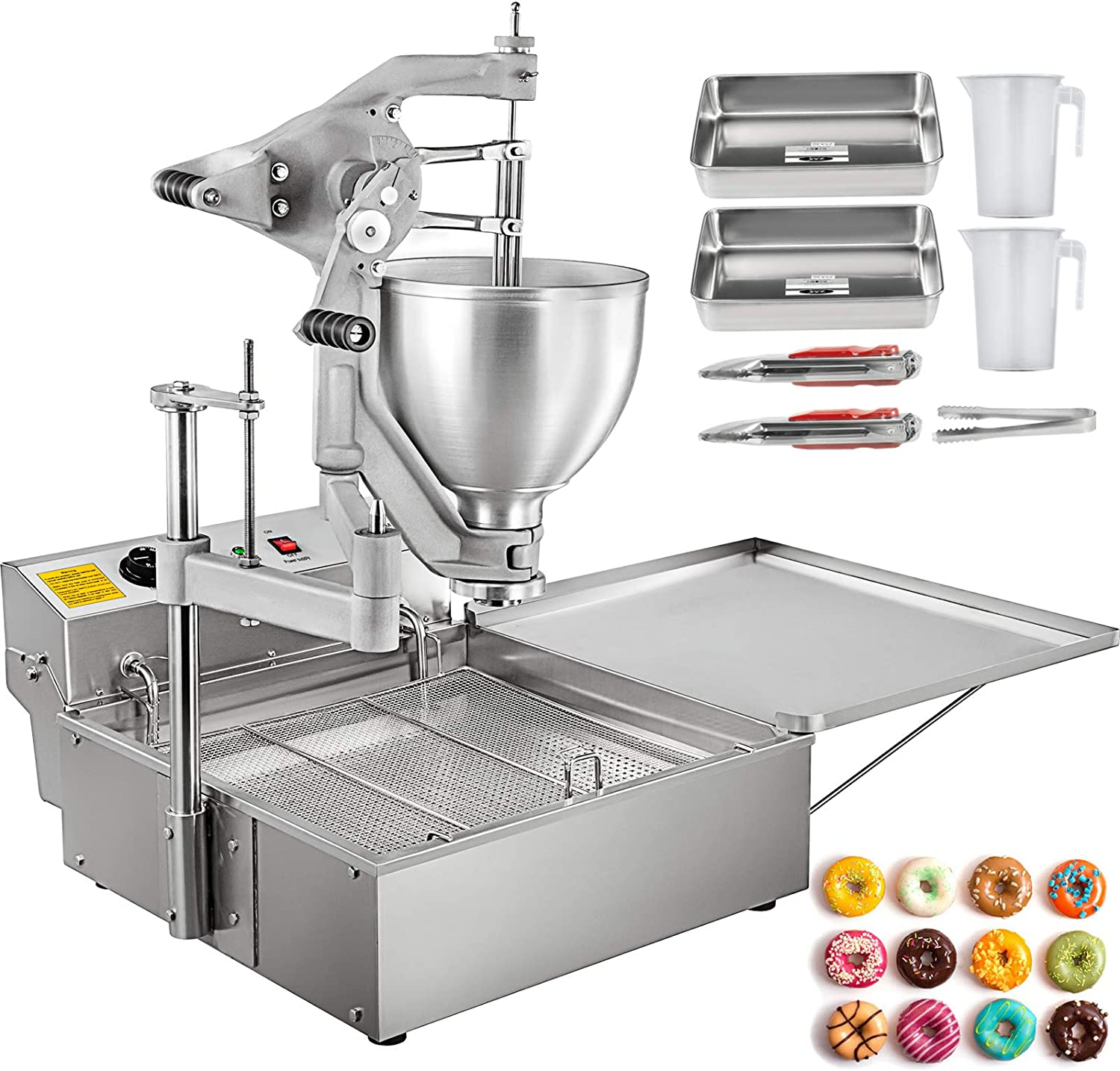 VBENLEM Donut Fryer Manual Commercial Mini Donut Maker 9L Capacity Hopper Donut Fryer Commercial 3 Donut Molds Donut Machine Maker Adjustable Thickness Commercial Donut Maker, 3000W, Stainless Steel